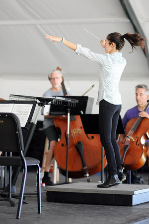 Gabriella Garza Canales, a student in the 2016 Conductors' Summit, leads a movement of the Klaus Sumon arrangement of Mahler's Fourth Symphony with members of the Wintergreen Festival Orchestra.